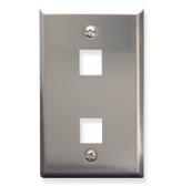 Face Plate 2 Port Stainless Steel for flush mounting jacks