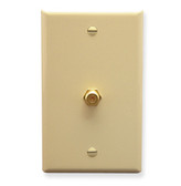 Faceplate, single gang ivory w/ F-type coupler gold plated