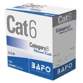 CAT6 PVC 004 Pair Solid (Bare Copper) Black, 550MHz 1000'/Box