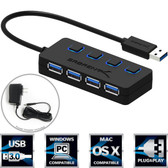USB 3.0 Hub 4-Port  with Individual Power Switches and LEDs included 5V/2.5A power adapter