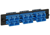 FIBER OPTIC ADAPTER SC PANEL 6-DUPLEX CERAMIC, Loaded, SC 6-Duplex, 12-port Ceramic Sleeve, Singlemode,Blue