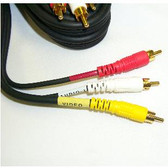 RCA 3 Plug M/M    3' Cable (Video + L/R audio), gold plated