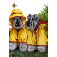Miniature Schnauzer Duo Rain Gear Flag