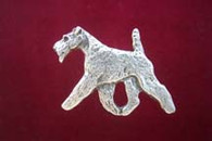 Wire Fox Terrier Pewter Pin - Trotting