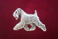 Soft Coated Wheaten Terrier Pewter Pin - Trotting