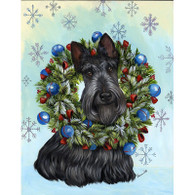 Scottie Scottish Terrier & Wreath Flag