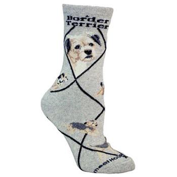 border terrier socks grey