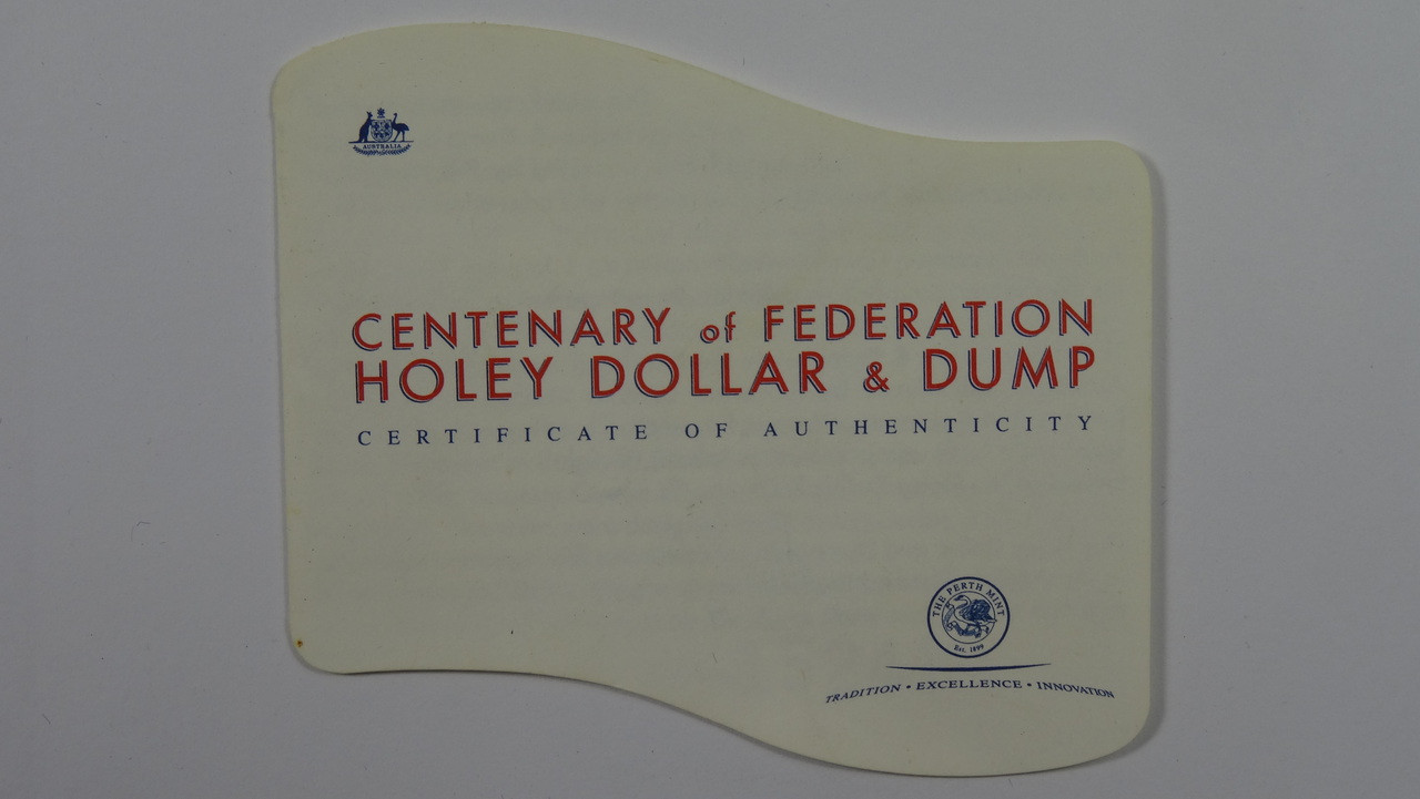 2001 Centenary Federation Holey Dollar & Dump Coin Booklet