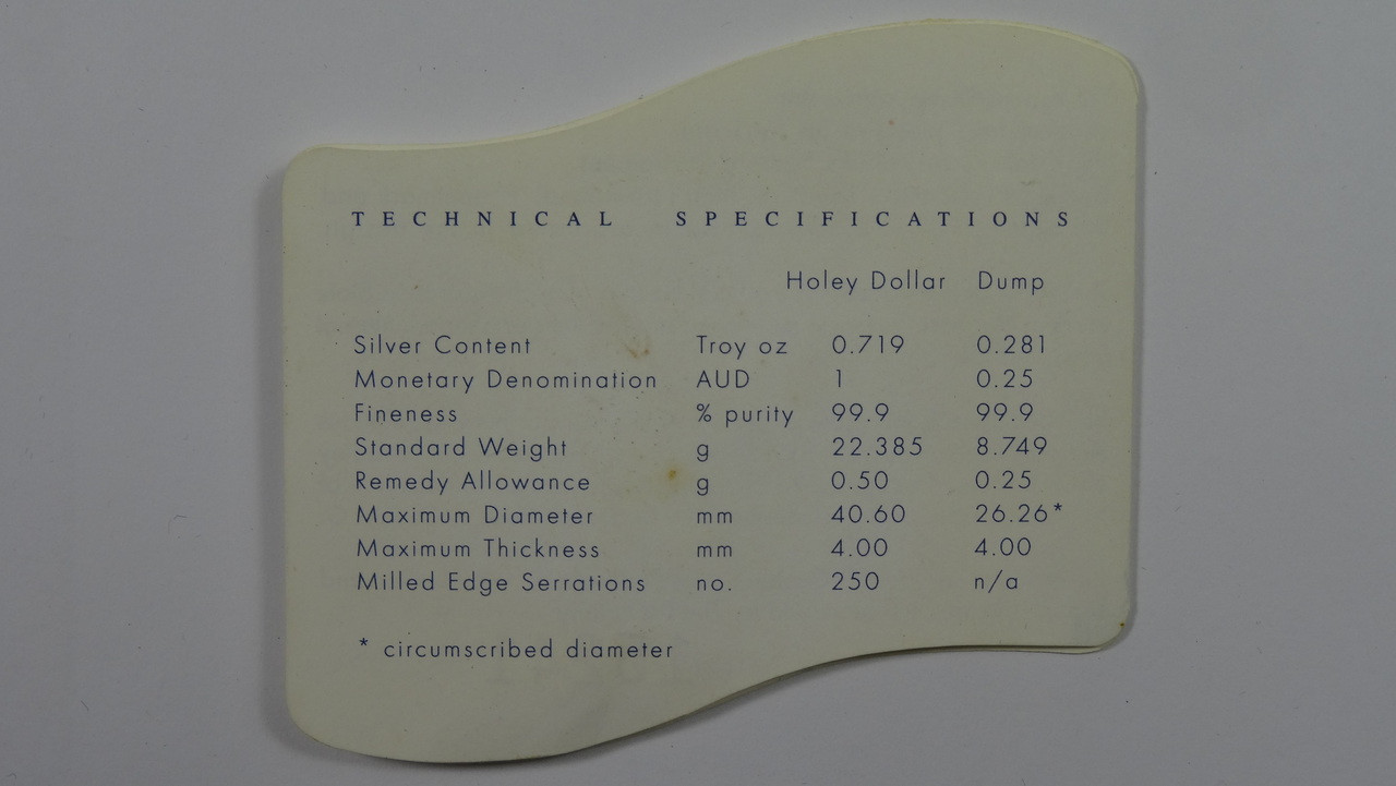 2001 Centenary Federation Holey Dollar & Dump Coin Technical Specifications