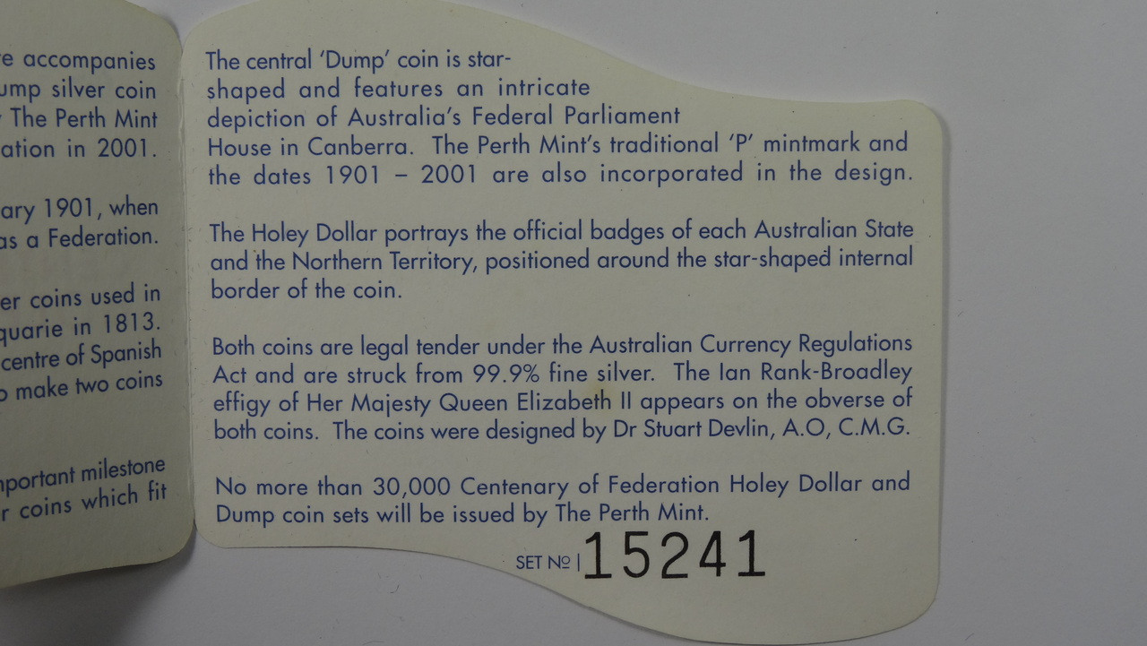 2001 Centenary Federation Holey Dollar & Dump Coin Number