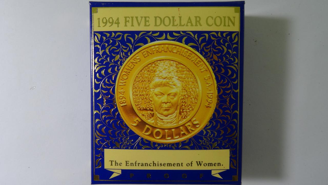 1994 Enfranchisement of Women Five Dollars Proof Coin