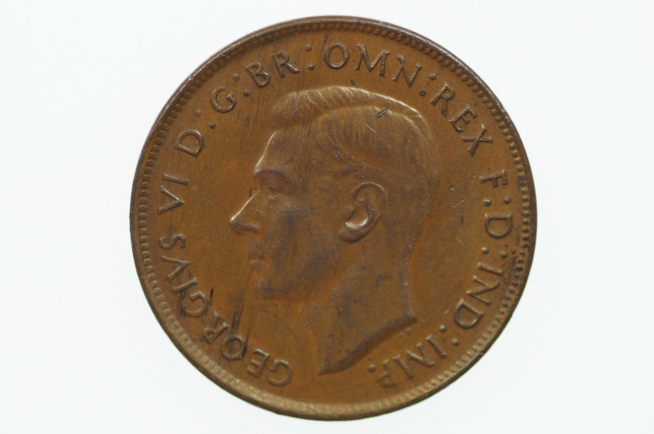 1943 Penny George VI in Uncirculated Condition Obverse
