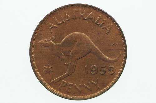 1959 Penny Elizabeth II in Uncirculated Condition Reverse