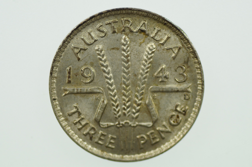 1943 D Threepence in Uncirculated Condition Reverse