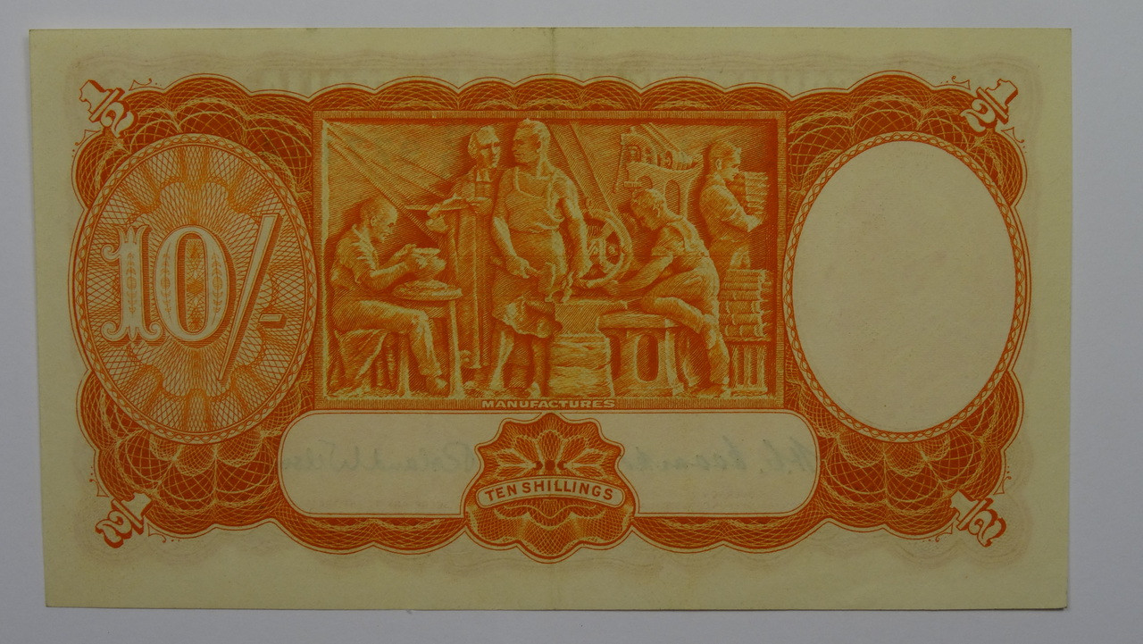 1952 10 /- Coombs/Wilson Banknote in EF Condition Back