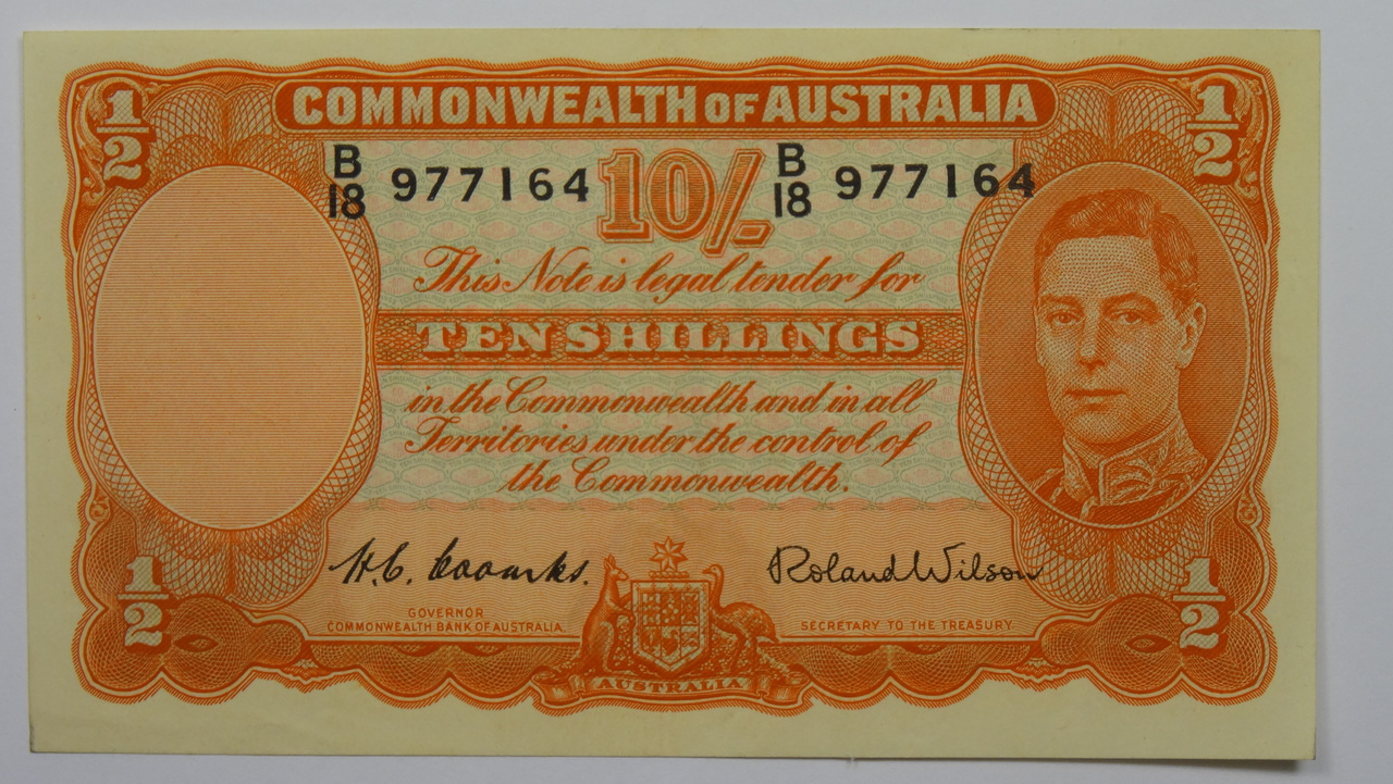 1952 10 /- Coombs/Wilson Banknote in EF Condition Front