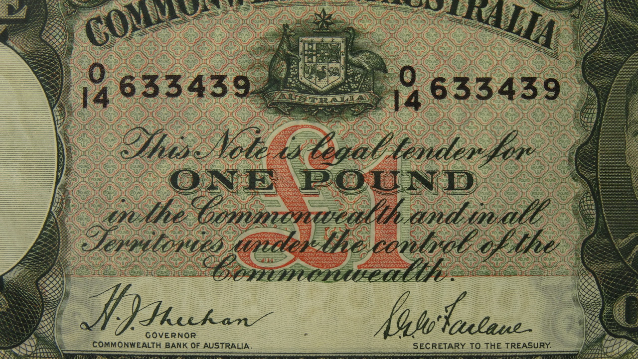 1938 One Pound Sheehan / McFarlane Banknote in EF Condition Close Up