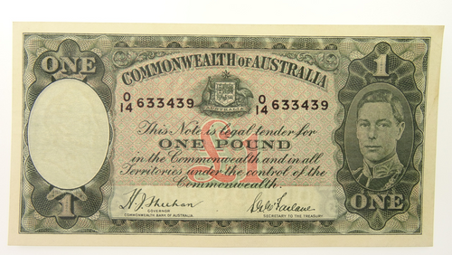 1938 One Pound Sheehan / McFarlane Banknote in EF Condition Front