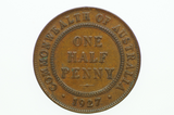 Australian 1927 Half Penny George V in Extremely Fine Condition