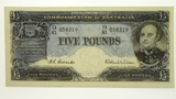 Commonwealth of Australia 1954 Five Pounds Coombs / Wilson Banknote in Almost Uncirculated Condition
