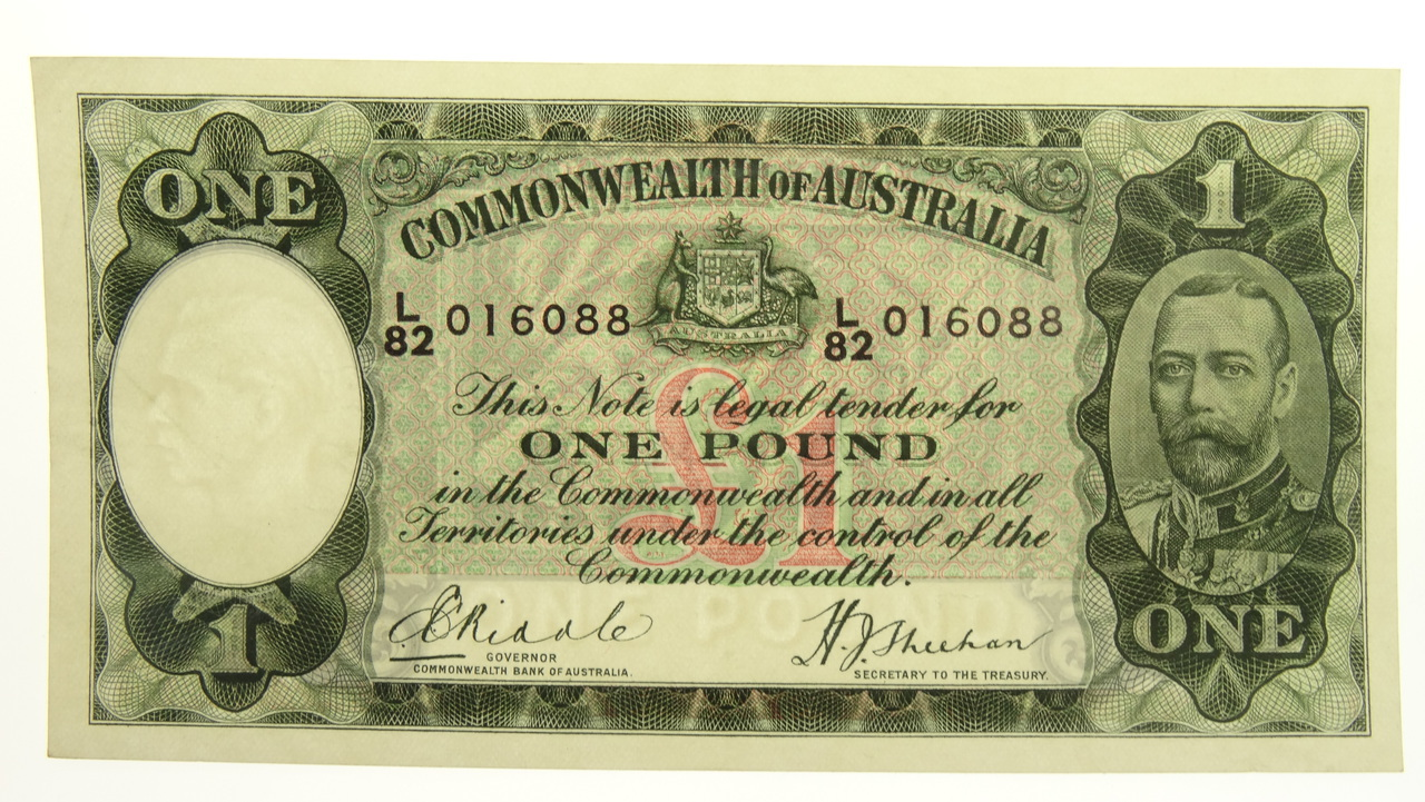 Australian 1933 One Pound Riddle / Sheehan Banknote in Extremely Fine Condition