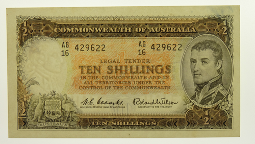 1961 Ten Shillings Coombs / Wilson Banknote in Uncirculated Condition
