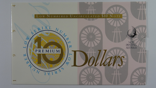 Australian 1994 Dated Annual Issues $10 Premium Low Red Numbered Uncirculated Banknote Folder