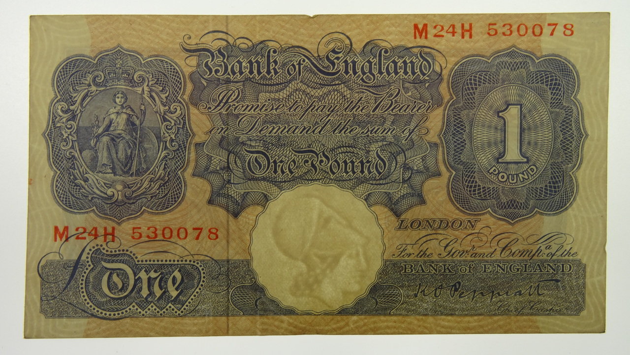 Great Britain 1948-49 ND Issue One Pound K.O. Peppiatt Banknote in Very Fine Condition
