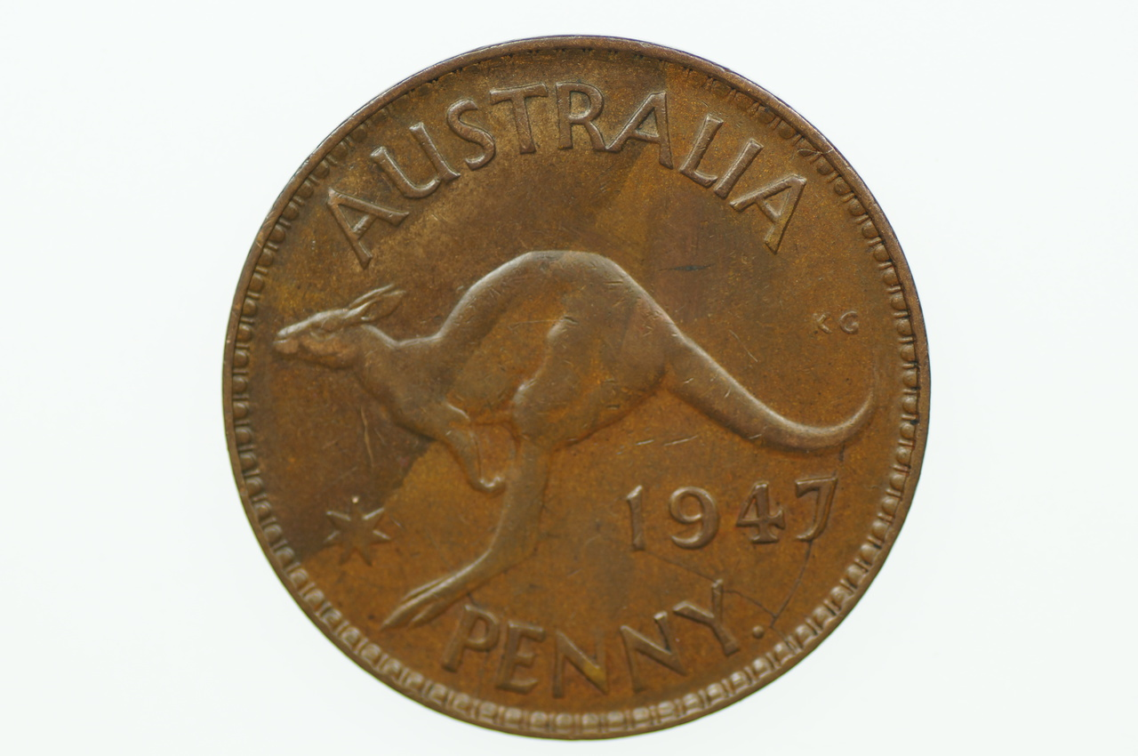 Australian 1947 Y. Penny George VI in Extremely Fine Condition