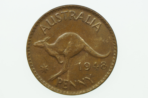 Australian 1948 Penny George VI in Almost Uncirculated Condition