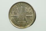 1954 Threepence Extra Metal On Rim Variety in Extremely Fine Condition