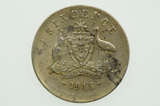 Australian 1945 Sixpence Variety Error Mis-Strike George VI in Very Fine Condition