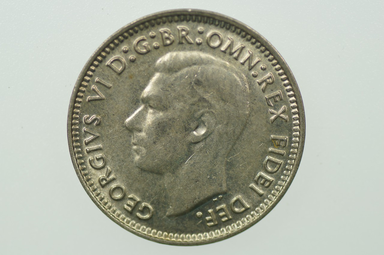 1949 Threepence George VI in Uncirculated Condition Obverse