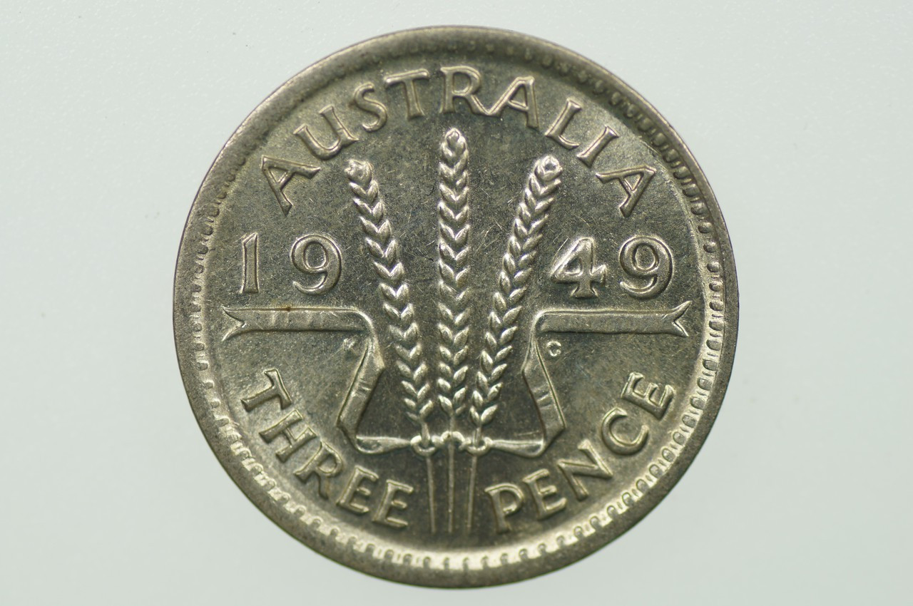 1949 Threepence George VI in Uncirculated Condition Reverse