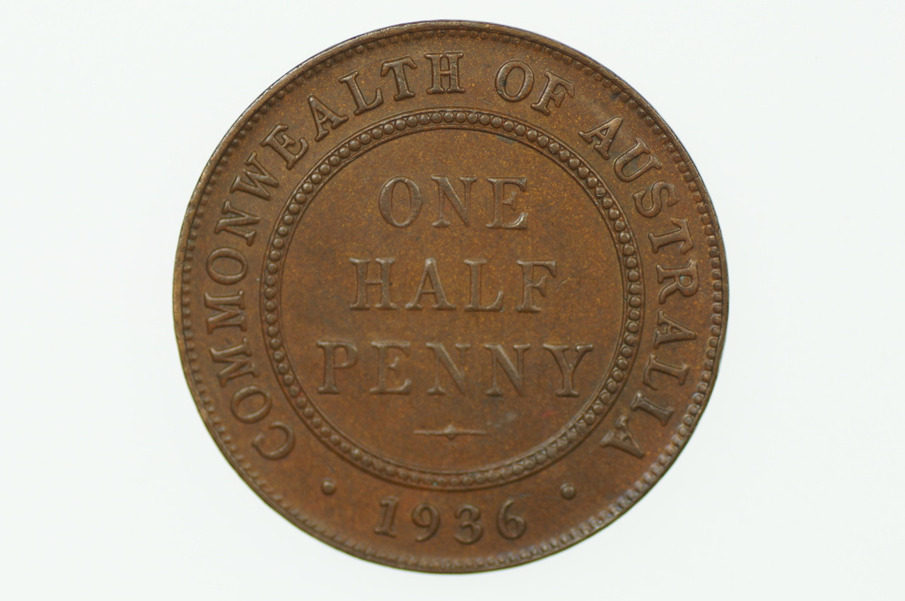1936 Half Penny George V in Almost Uncirculated Condition Reverse