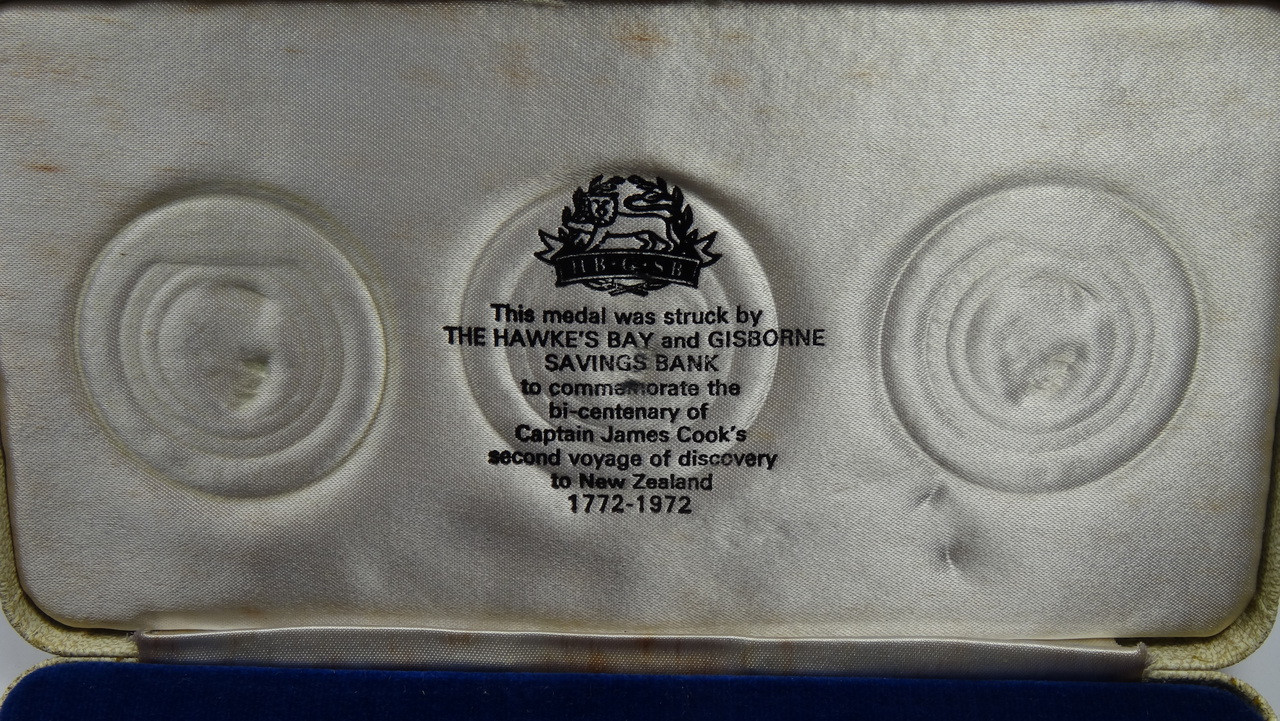 Captain James Cook's 2nd Voyage Gold, Silver and Bronze Medal Set Display Box Top Lining