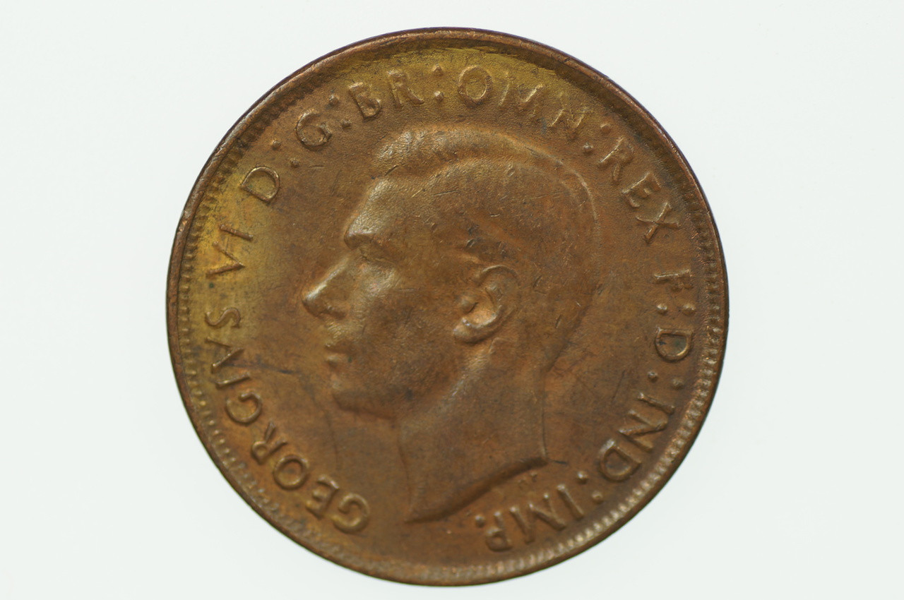1943 Y. Penny George VI in Almost Uncirculated Condition Obverse