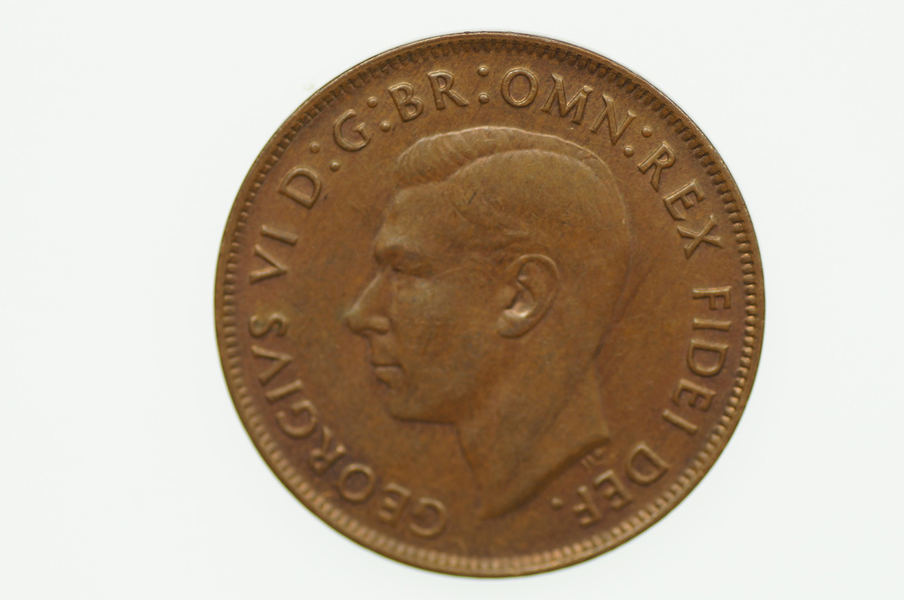 1952 Penny George VI in Uncirculated Condition Obverse