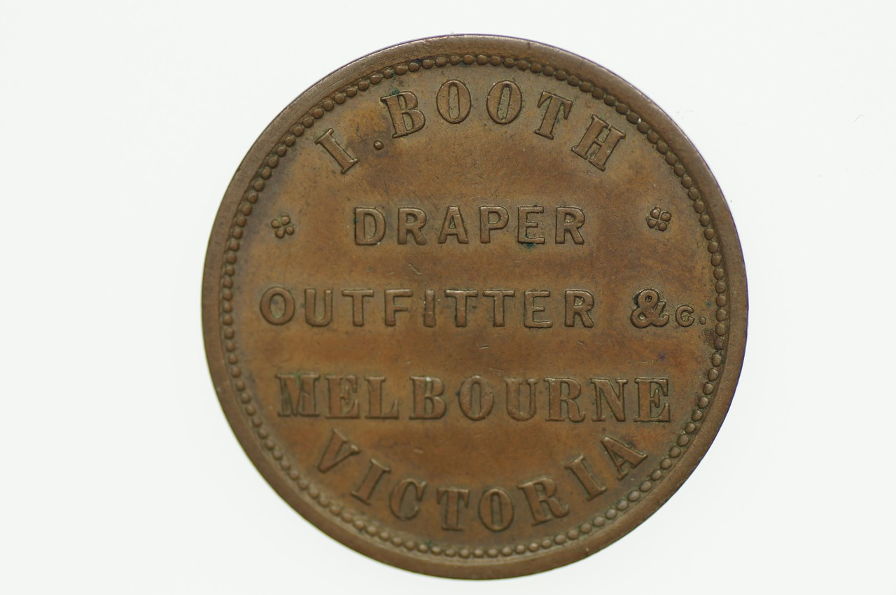 Booth, I Penny Token in Almost Uncirculated Condition Obverse