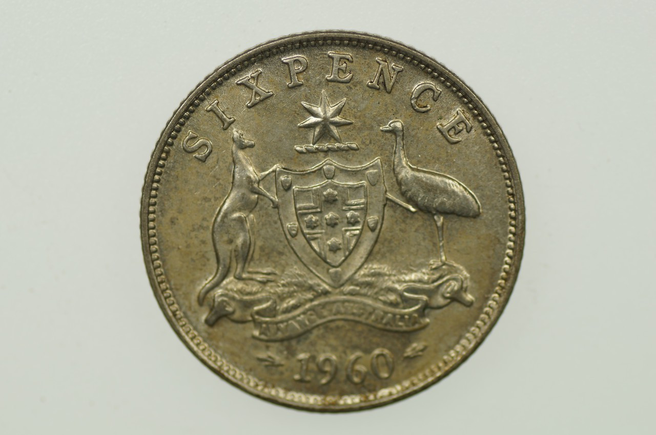 1960 Sixpence Elizabeth II in Almost Uncirculated Condition Reverse