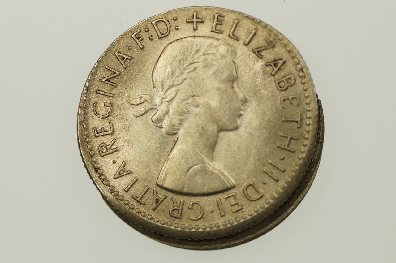 1958 Shilling Variety Error Mis-Strike in Uncirculated Condition Obverse