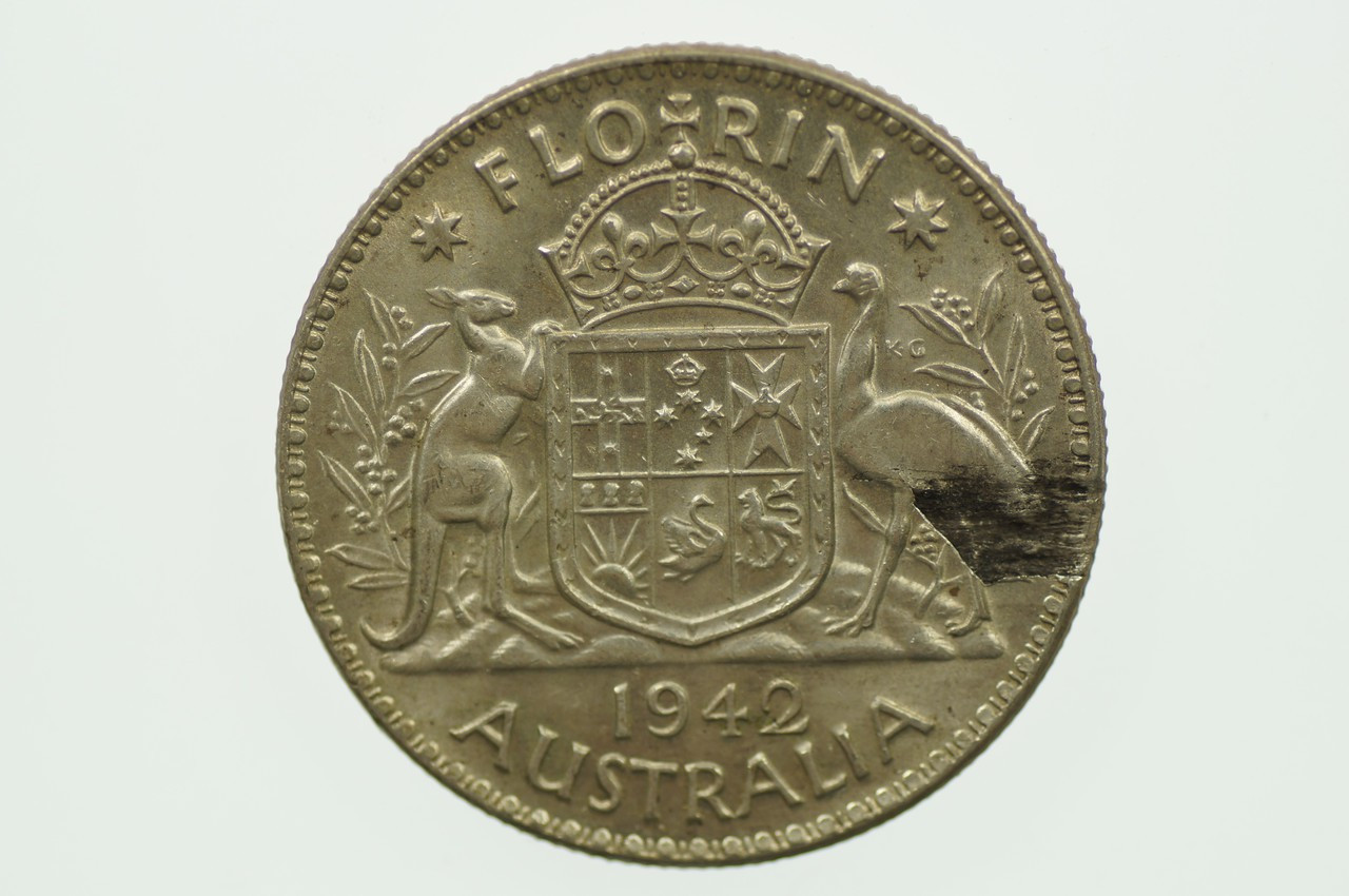 1942 Florin Over-stamp Metal Peel Variety in EF Condition Reverse