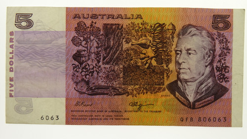 1990 Five Dollars Error Missing Prefix and Serial Numbers Banknote Reverse