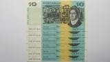 1985 Ten Dollars Johnston / Fraser Consecutive Run of Six Banknotes