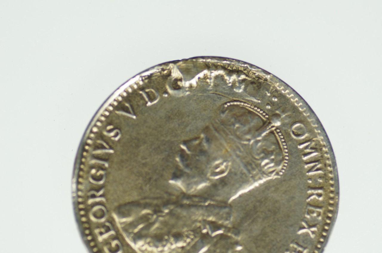 1912 Threepence Metal Peel Variety in Very Fine Condition Obverse Close Up