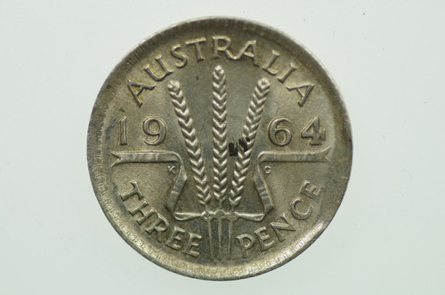 1964 Threepence Variety Error Clipped Edge in Uncirculated  Reverse