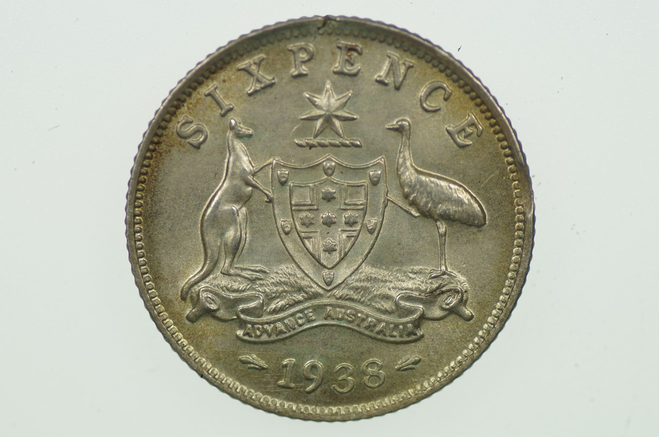 1938 Sixpence Variety Error Clipped Edge in Almost Uncirculated Condition Reverse