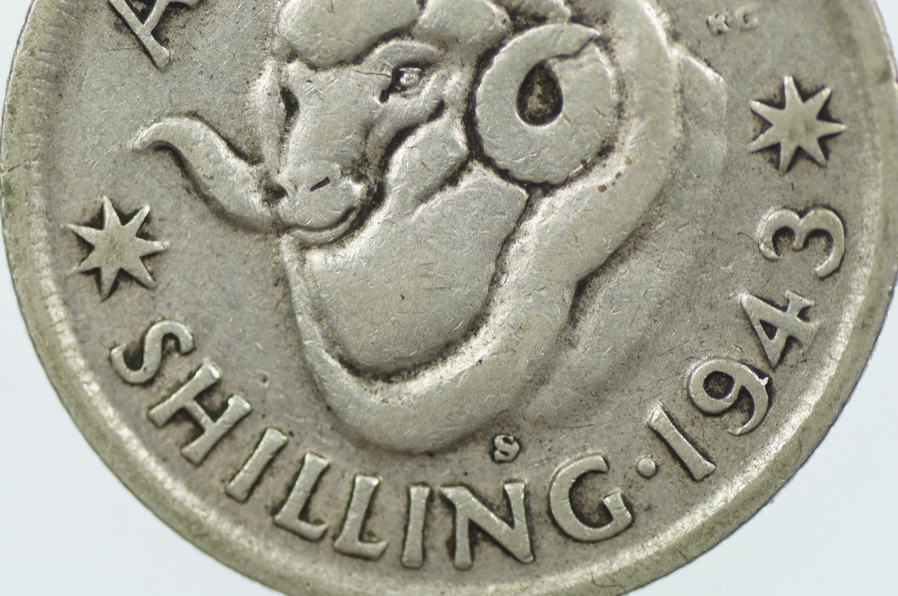 1943 S Shilling Variety Blob Attached to Front Top of Mint Mark George VI in Fine Condition Reverse Close Up