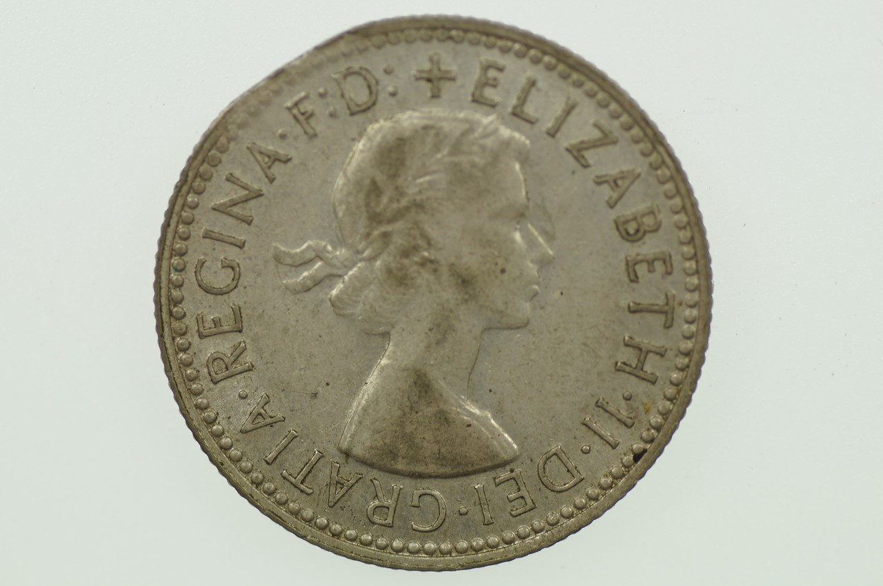 1956 Shilling Variety Error Clipped Edge Elizabeth II in Very Fine Condition Obverse