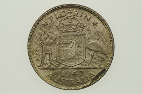 1947 Florin Metal Peel Variety in Extremely Fine Condition Reverse